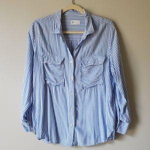GAP | Blue & White Striped Boyfriend Top | L